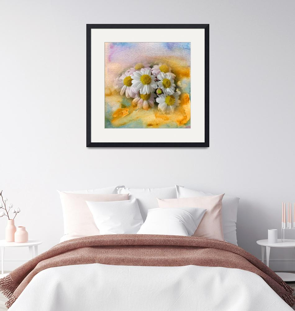 """""""White flowers watercolour digital painting""""  (2017) by SmartArtPlace"""