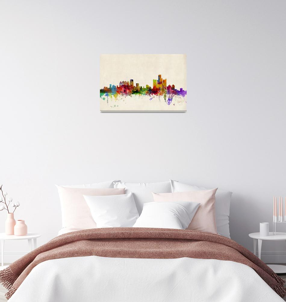 """Detroit Michigan Skyline""  (2013) by ModernArtPrints"