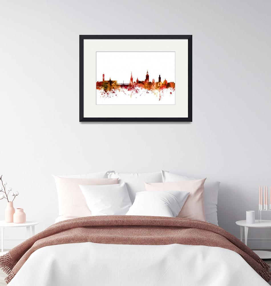 """Stockholm Sweden Skyline""  (2018) by ModernArtPrints"
