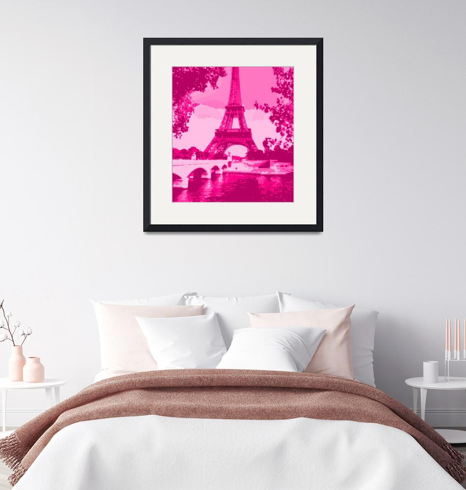 """Eiffel Tower Seine River Enhanced Pink Cropped""  (2013) by TheNorthernTerritory"