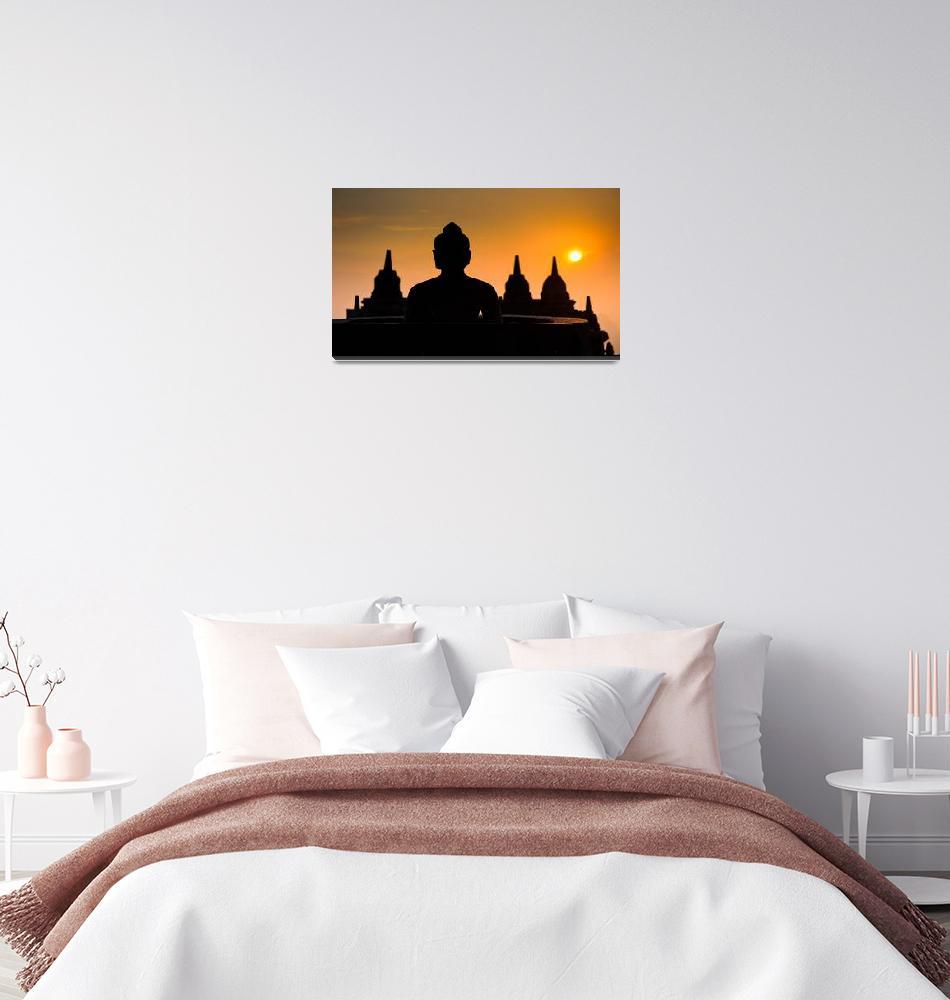 """Borobudur temple at sunrise, Java, Indonesia""  by kalishko"