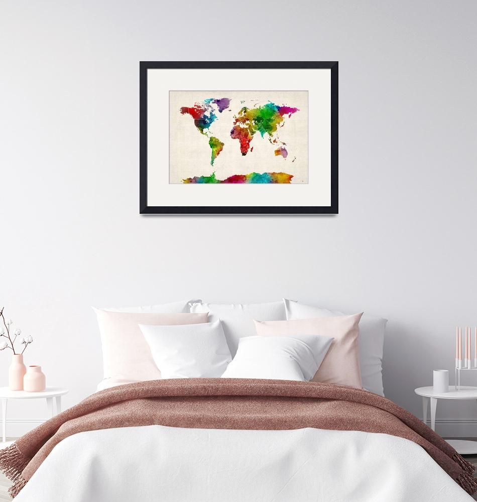 """Watercolor Map of the World Map""  (2012) by ModernArtPrints"