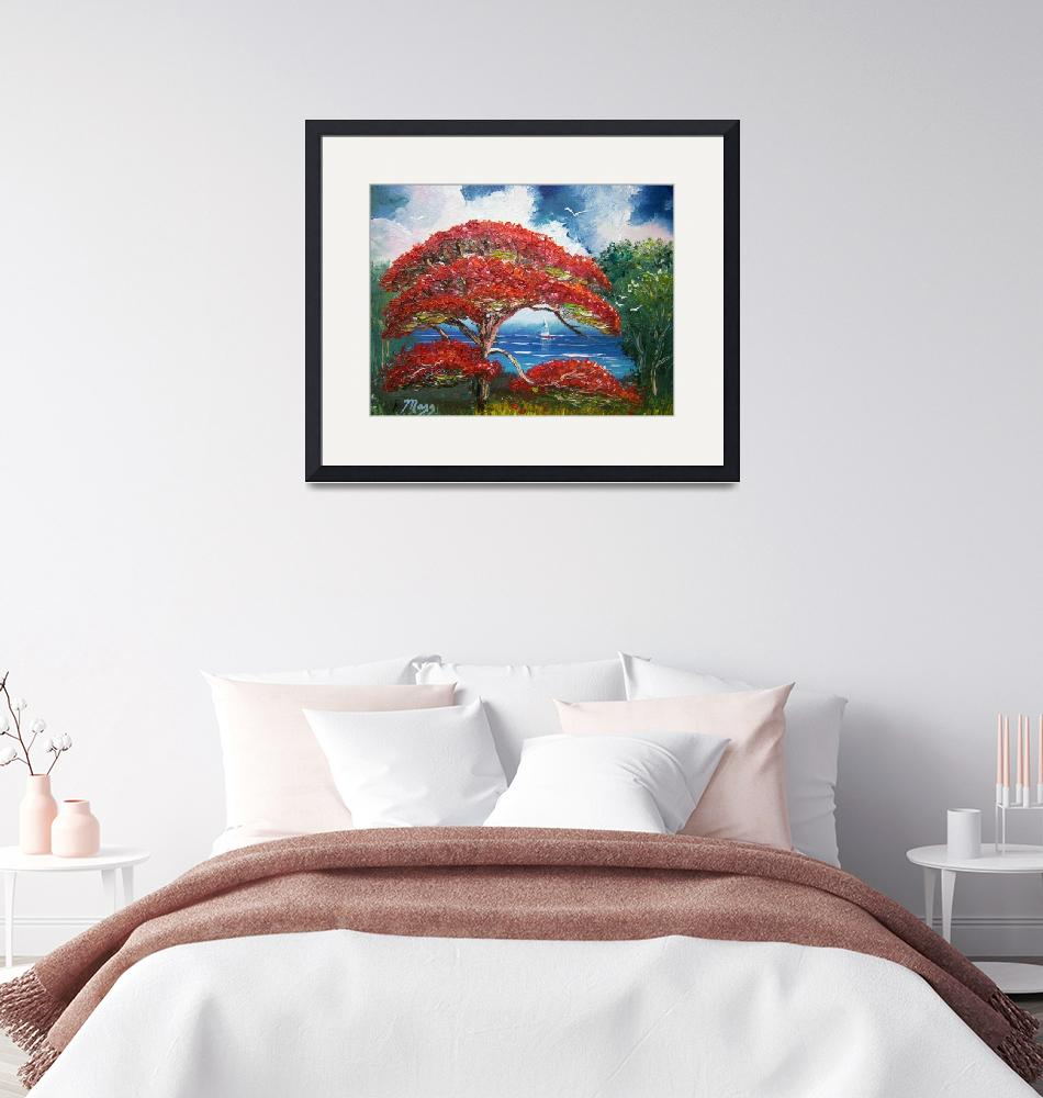 """""""Red Royal Poinciana Tree and Sailboat""""  (2014) by mazz"""