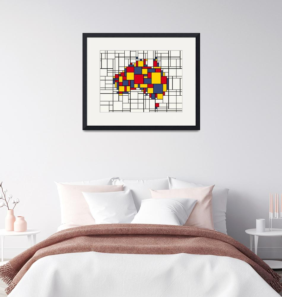 """Mondrian inspired Australia Map""  by ModernArtPrints"