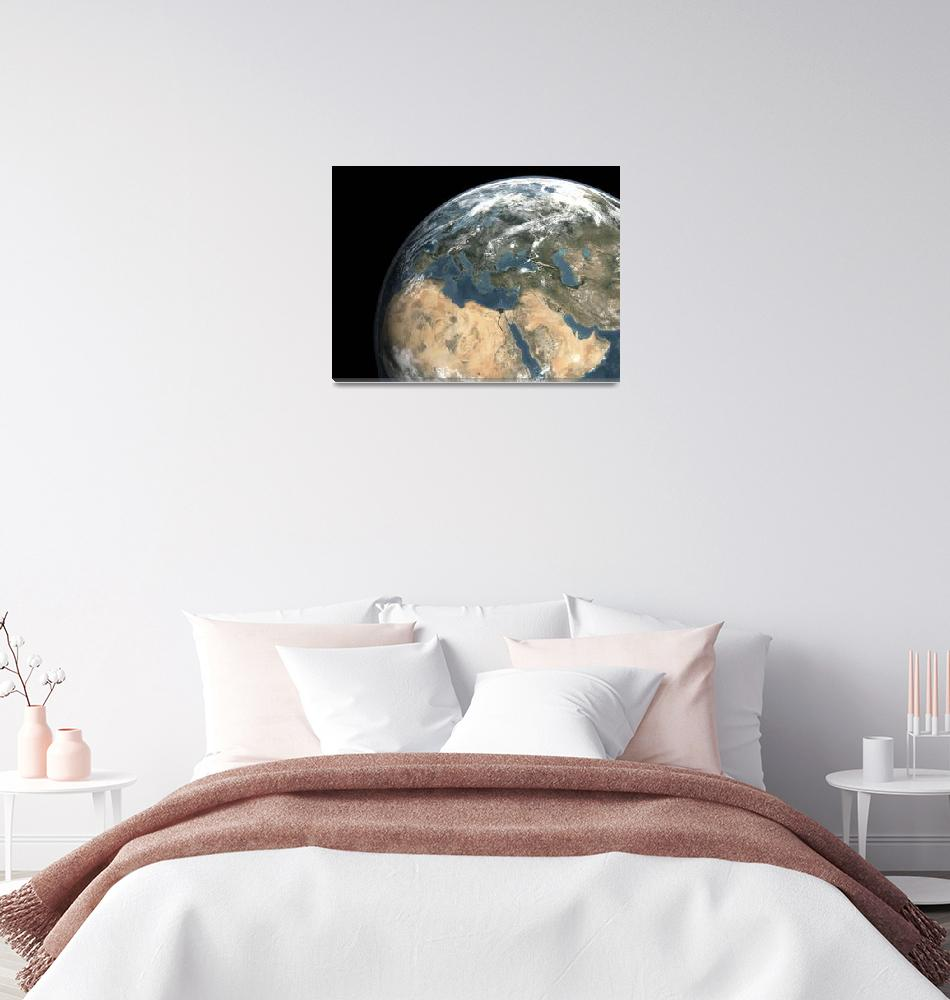 """Global view of earth over Europe, Middle East, and""  by stocktrekimages"