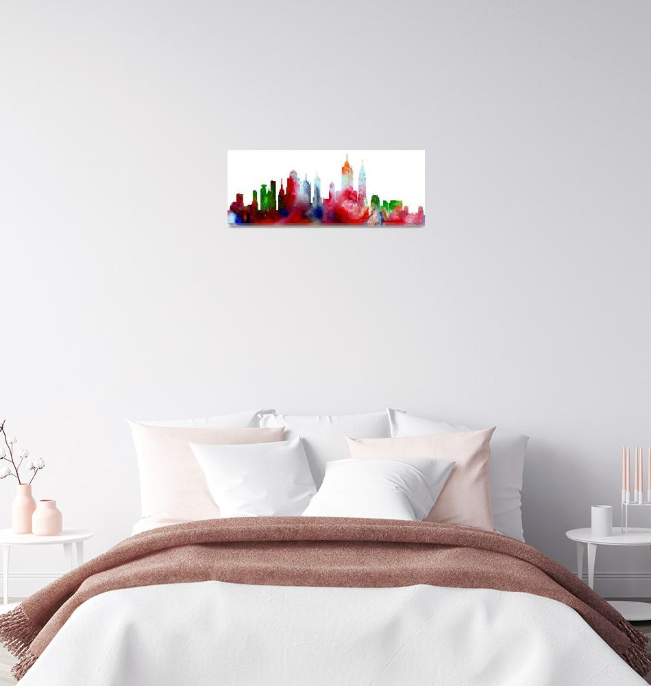 """Decorative Skyline Abstract New York P1015D""  (2015) by MasArtStudio"