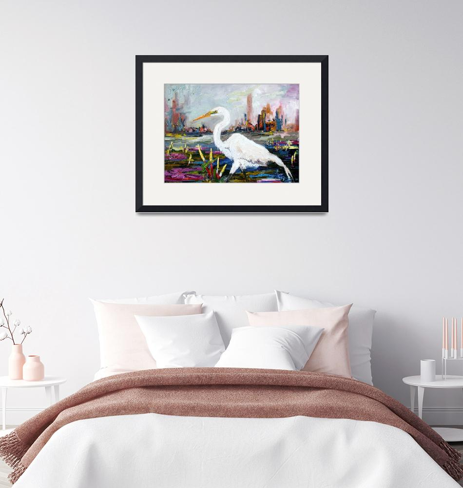 """""""White Heron and City Skyline""""  (2017) by GinetteCallaway"""