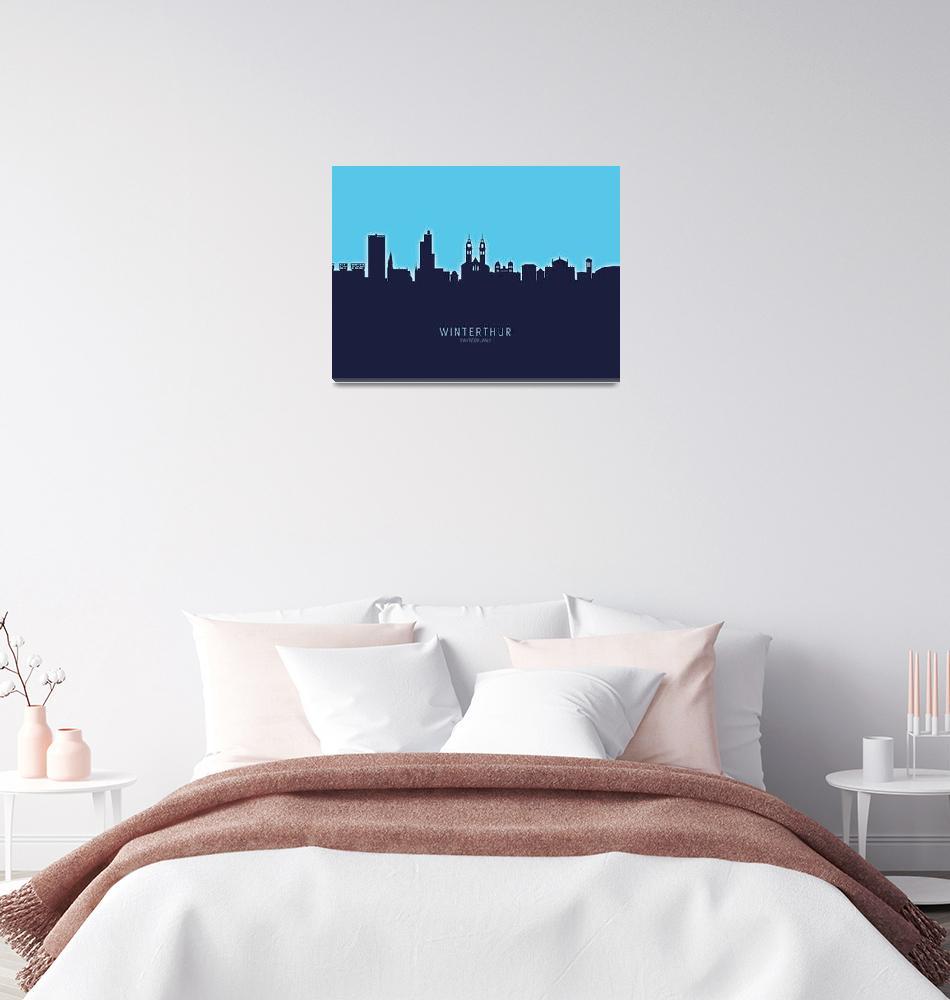 """Winterthur Switzerland Skyline""  (2020) by ModernArtPrints"