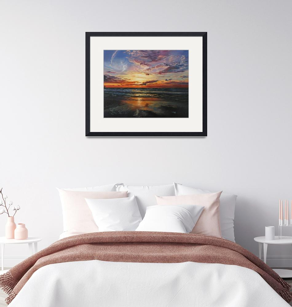 """""""Original oil painting sunset at ocean""""  (2019) by yuezeng"""
