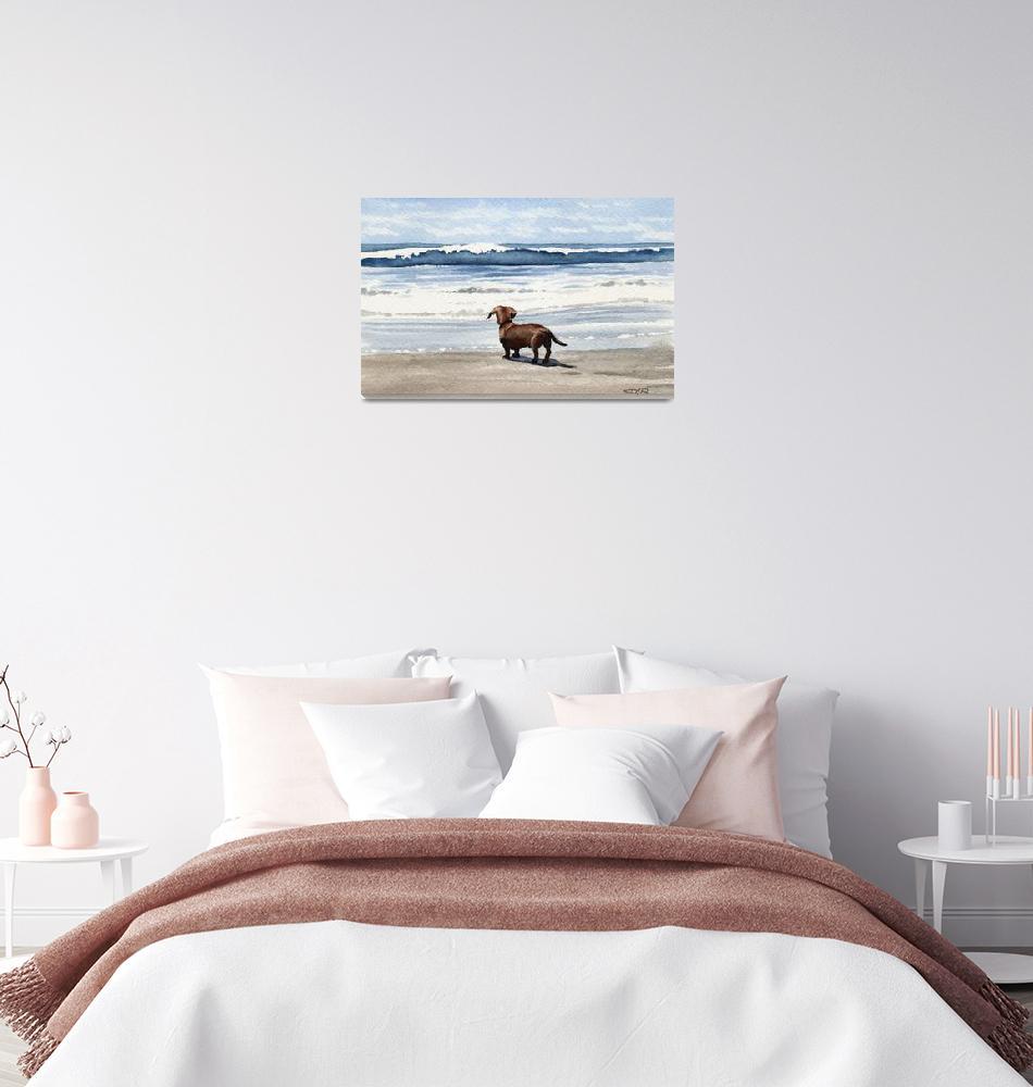 """Dachshund Beach""  (2015) by k9artgallery"