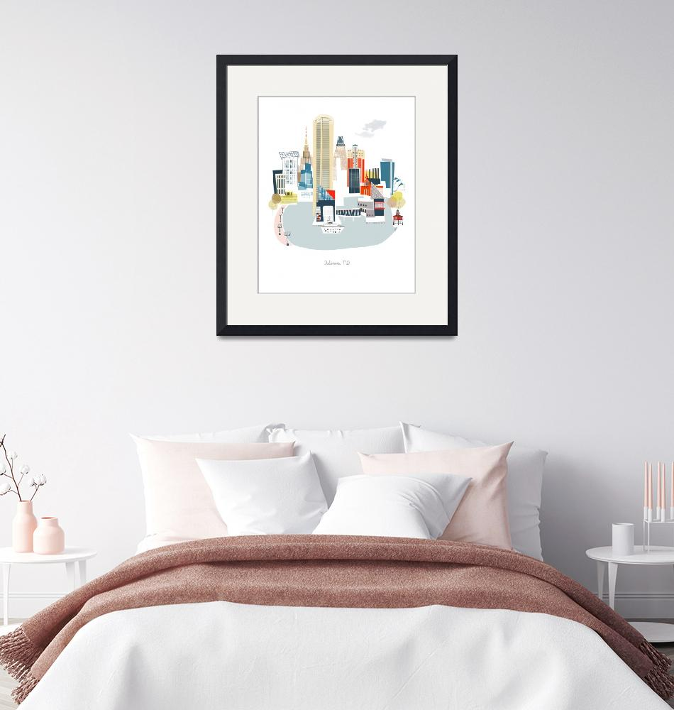 """Baltimore Modern Cityscape Illustration""  by AlbieDesigns"