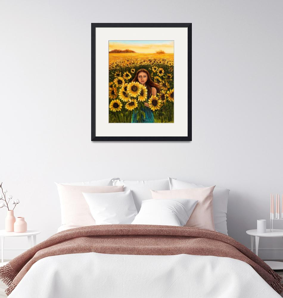 """Woman and sunflowers""  (2019) by boyan"
