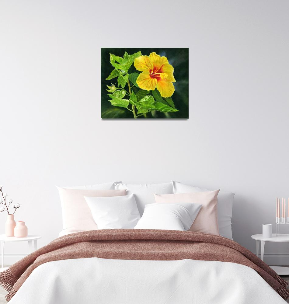 """Yellow Hibiscus with Leaves and Dark Background""  (2019) by Pacific-NW-Watercolors"