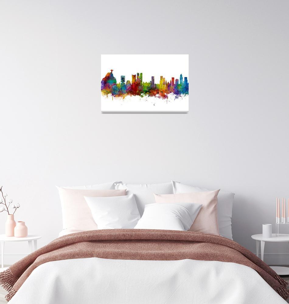 """Rio de Janeiro Skyline Brazil""  (2018) by ModernArtPrints"