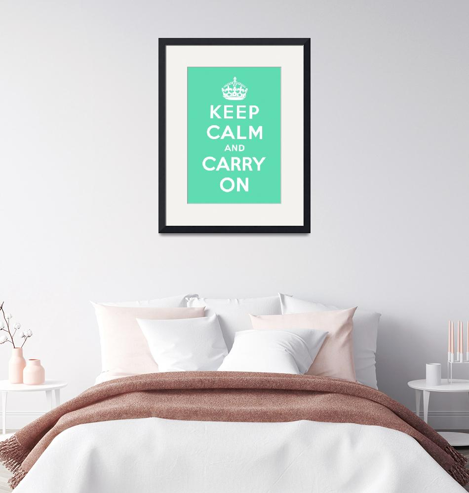 """Green Keep Calm And Carry On 9""  by oldies"