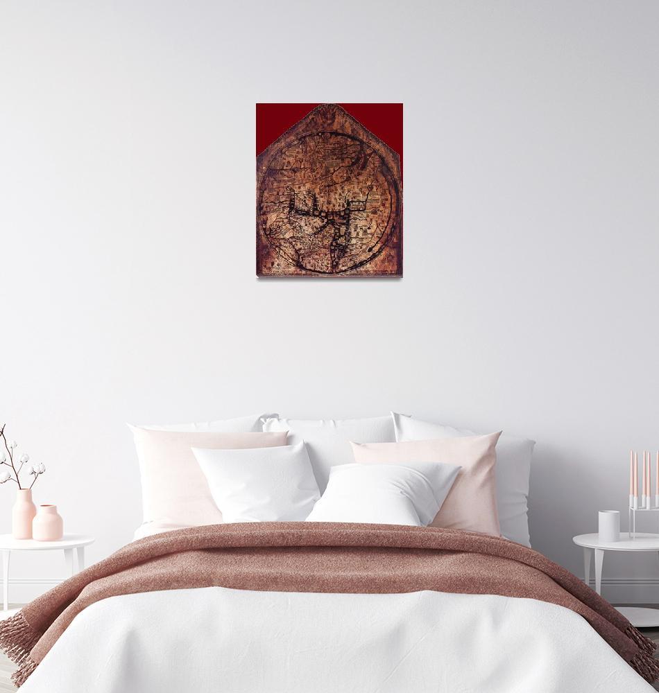 """""""Hereford Mappa Mundi 1300 Dark Red Corners""""  (2014) by TheNorthernTerritory"""