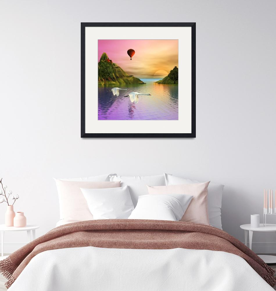 """""""Summer Landscape with Swans"""" (2019) by AnneVis"""
