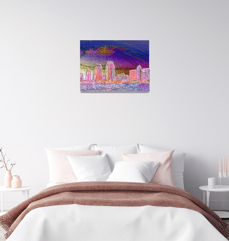 """""""San Diego Skyline at Sundown""""  (2011) by artimus"""