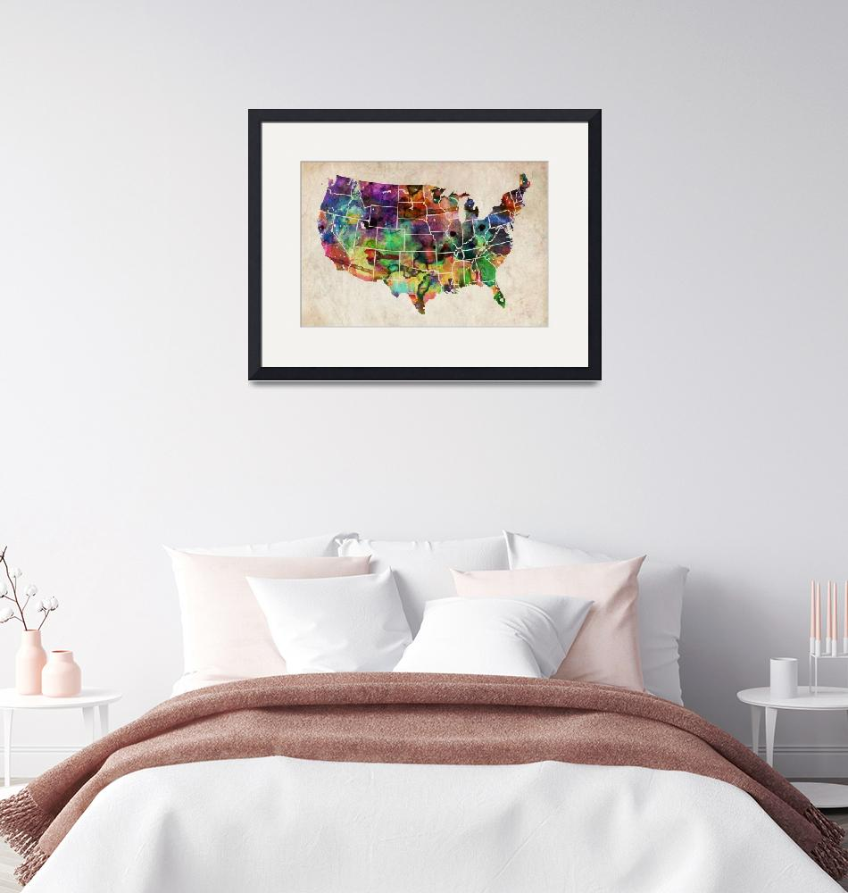"""USA Watercolor Map""  (2011) by ModernArtPrints"