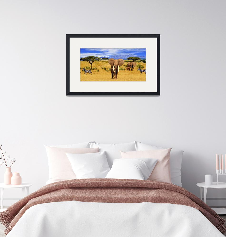 """""""Panorama. Elephant Animals of Africa""""  (2020) by Radiant"""
