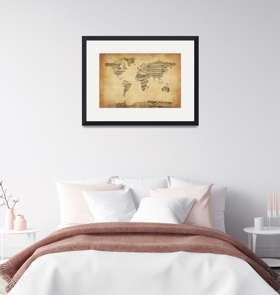 """""""Map of the World Map from Old Sheet Music""""  (2012) by ModernArtPrints"""