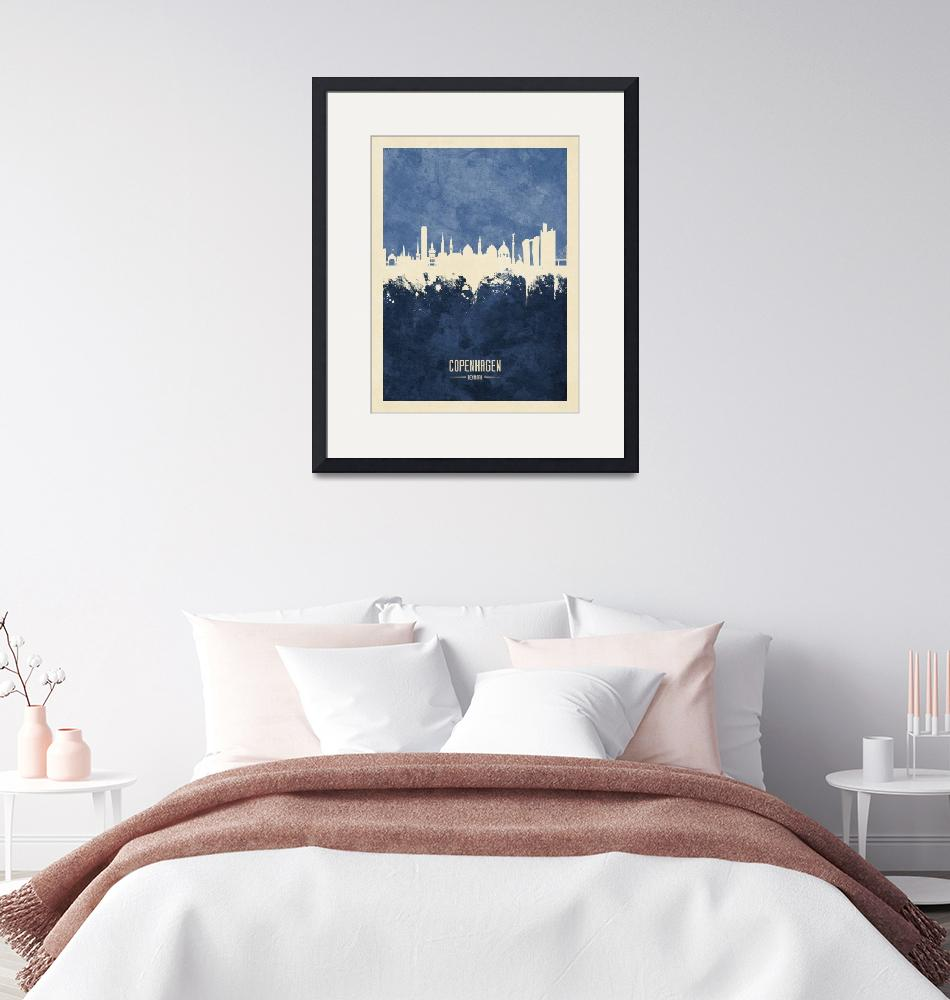 """Copenhagen Denmark Skyline""  (2019) by ModernArtPrints"