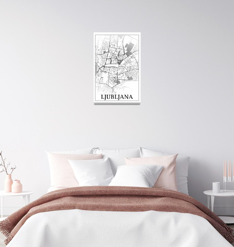 """Ljubljana, Slovenia, city map print.""  by dandistudio"