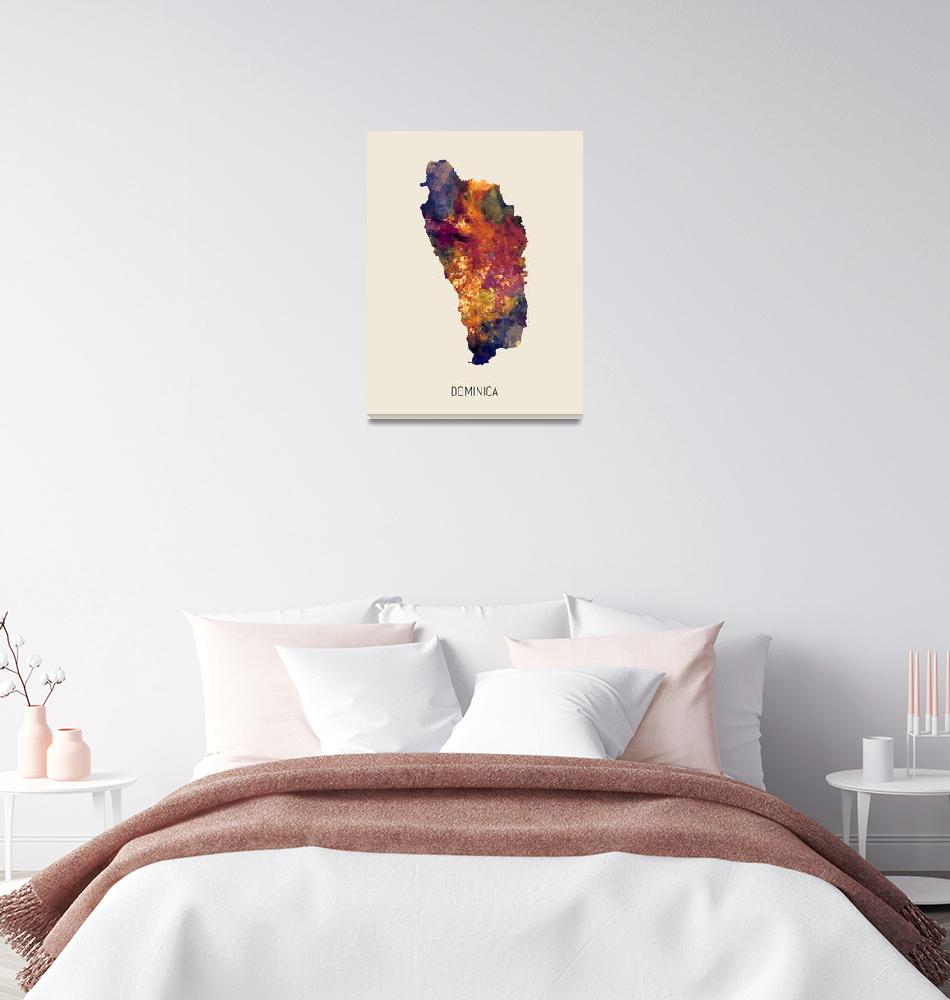 """Dominica Watercolor Map""  (2019) by ModernArtPrints"