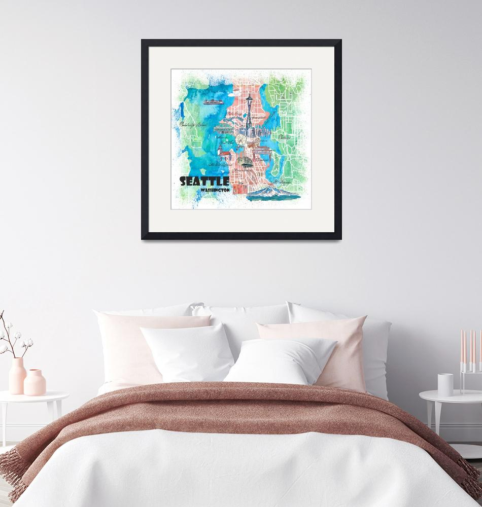 """""""Seattle Washington Illustrated Map with Main Roads""""  (2019) by arthop77"""