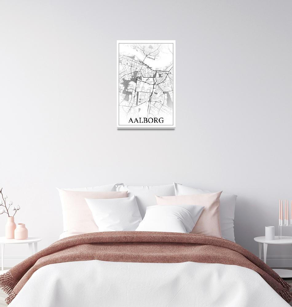"""Aalborg, Denmark, city map print.""  by dandistudio"