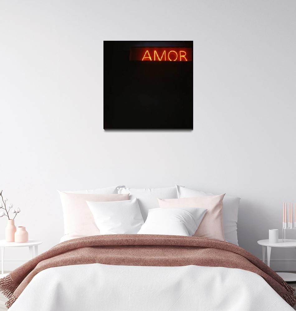 """""""Neon light sign Amor love in Spanish""""  (2007) by edwardolive"""
