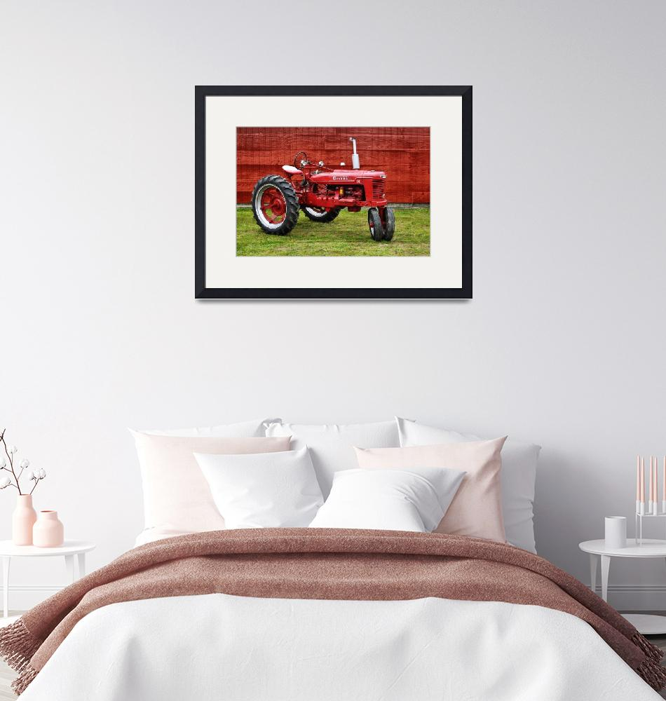 """""""Vintage Farmall Tractor with Barnwood""""  (2017) by LukeMoore"""