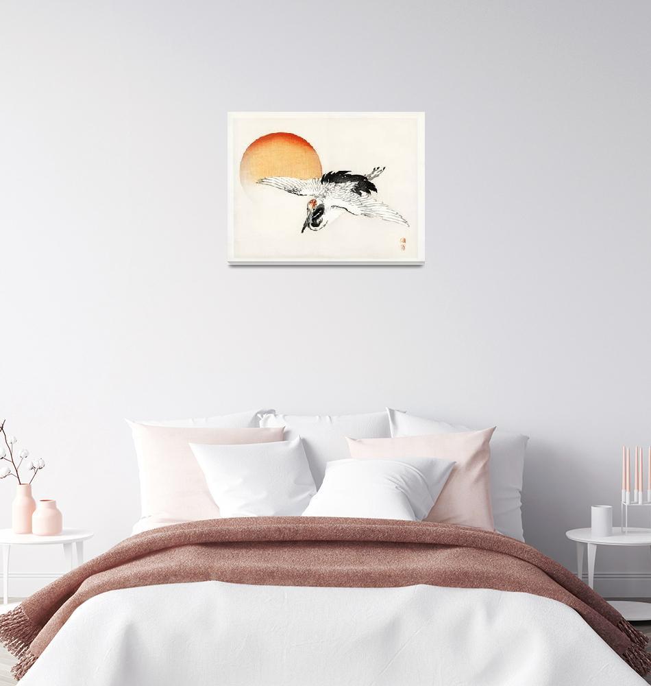 """Flying Crane in the Sunset Kono Bairei""  by FineArtClassics"