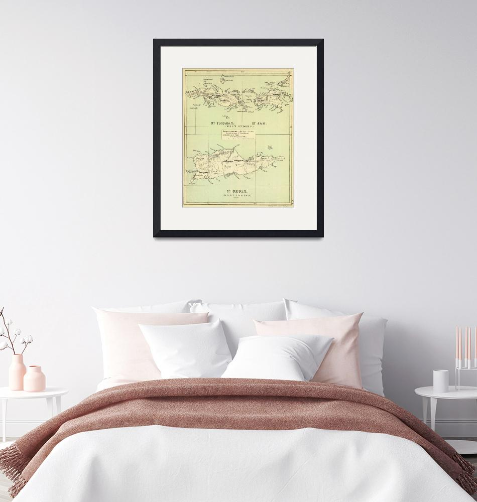 """""""Vintage Map of The Virgin Islands (1853)""""  by Alleycatshirts"""