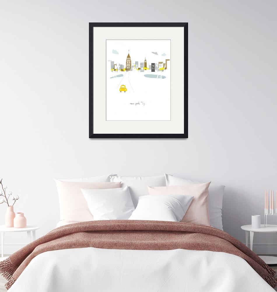 """""""New York City Modern Cityscape Illustration""""  by AlbieDesigns"""