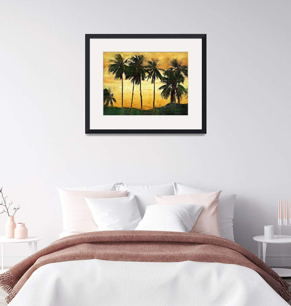 """Palm Trees at Sunset""  (2009) by talgreen"
