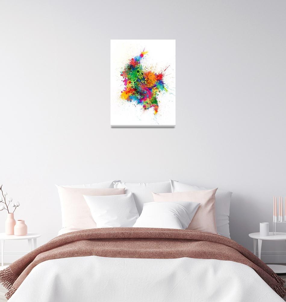 """Colombia Paint Splashes Map""  (2017) by ModernArtPrints"