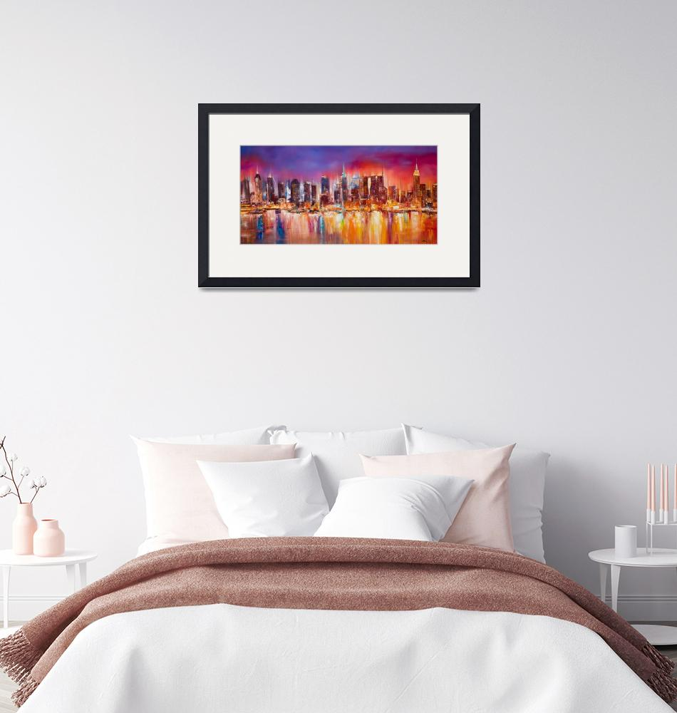 """Vibrant New York City Skyline""  (2012) by citywallart"