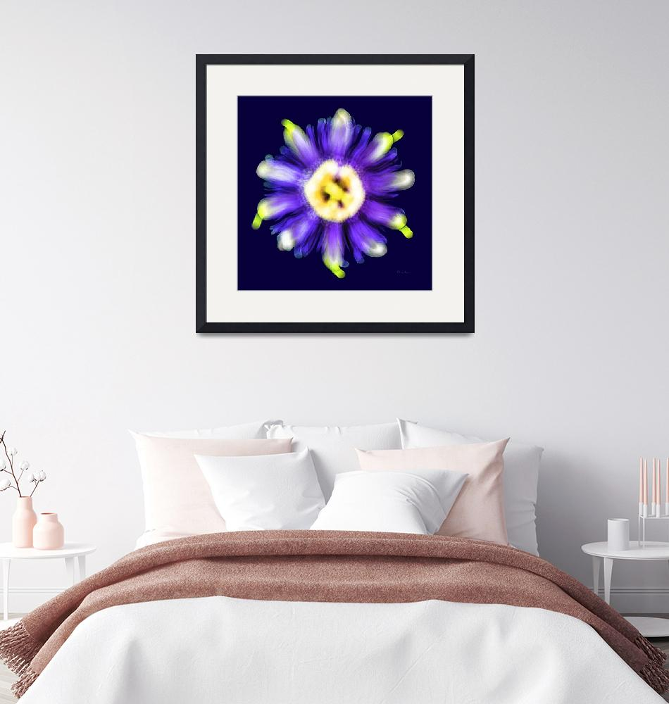 """""""Abstract Passion Flower Violet Blue  Green 002b""""  (2018) by Ricardos"""