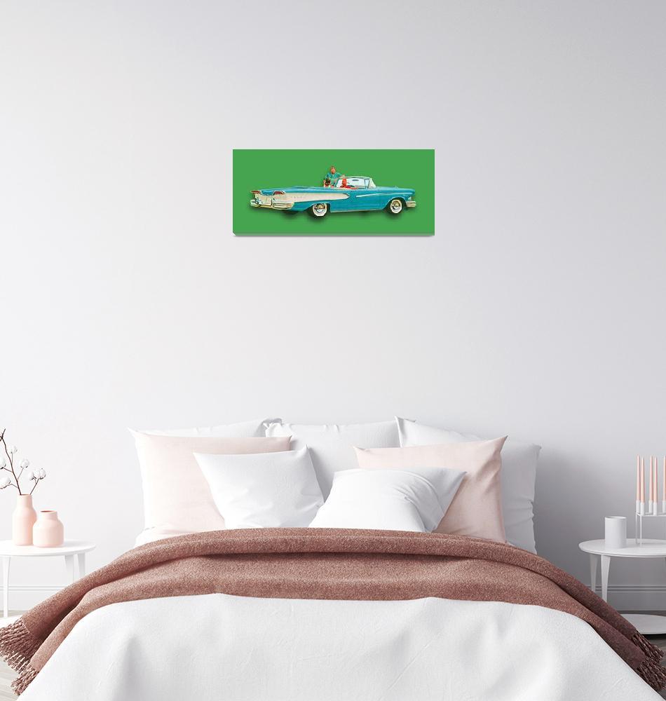 """Edsel Car Advertisement Convertible Green""  (2018) by RubinoFineArt"