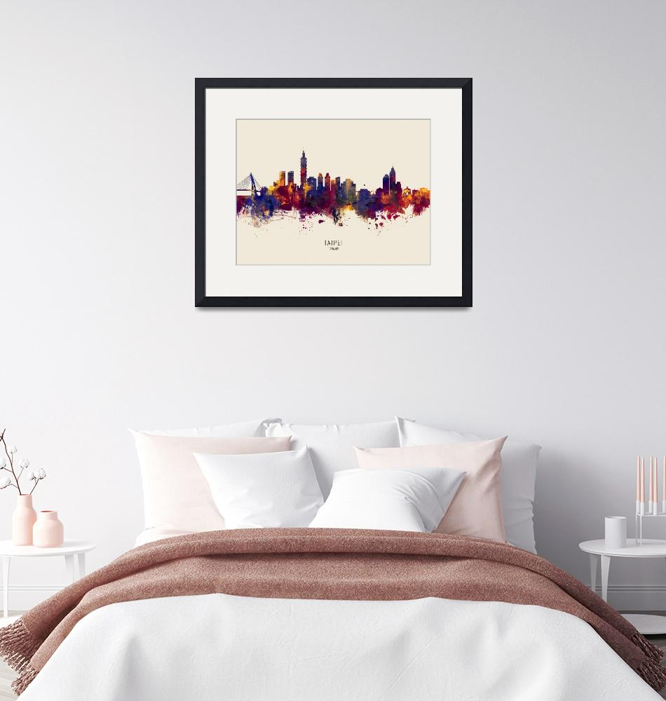 """Taipei Taiwan Skyline""  (2019) by ModernArtPrints"