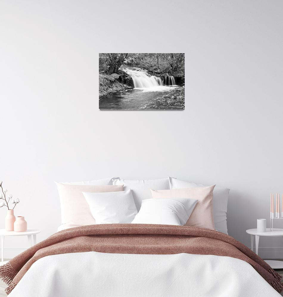 """Creek Merge Waterfall in Black and White""  (2011) by lightningman"