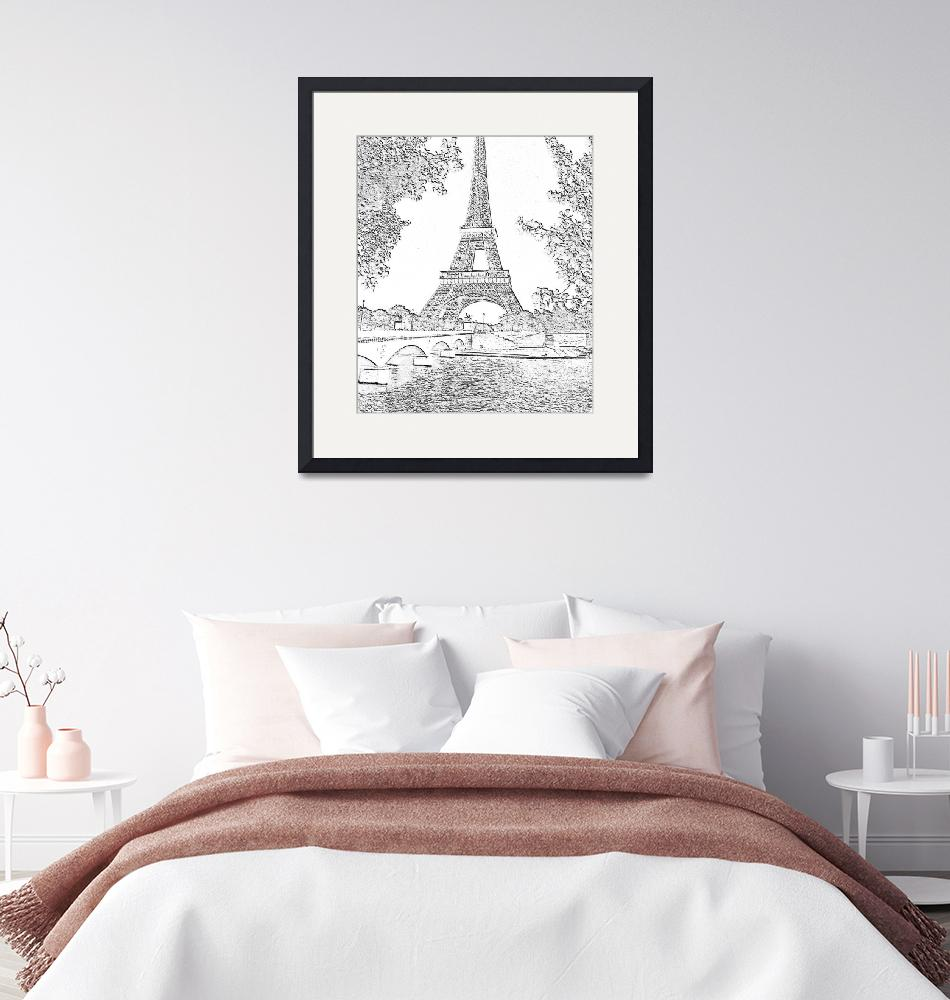 """""""Eiffel Tower Seine River Charcoal Cropped""""  (2013) by TheNorthernTerritory"""