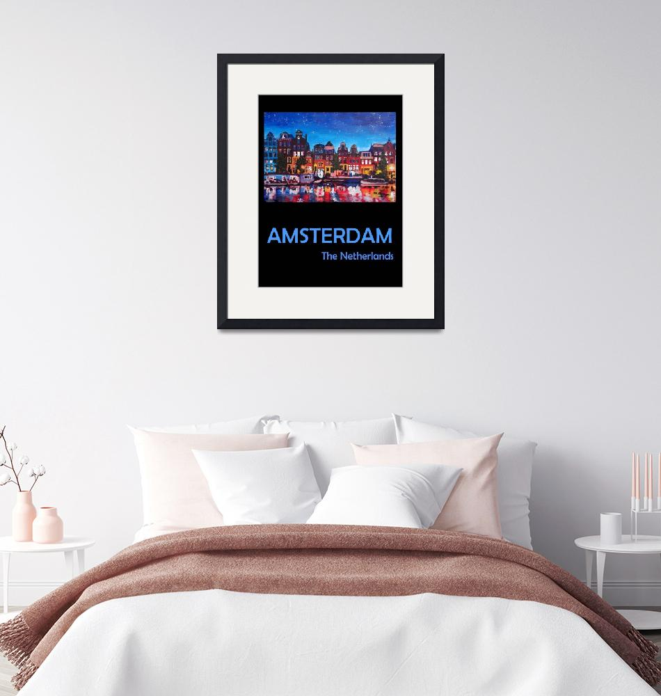 """Retro Travel Poster Amsterdam Netherlands""  (2019) by arthop77"
