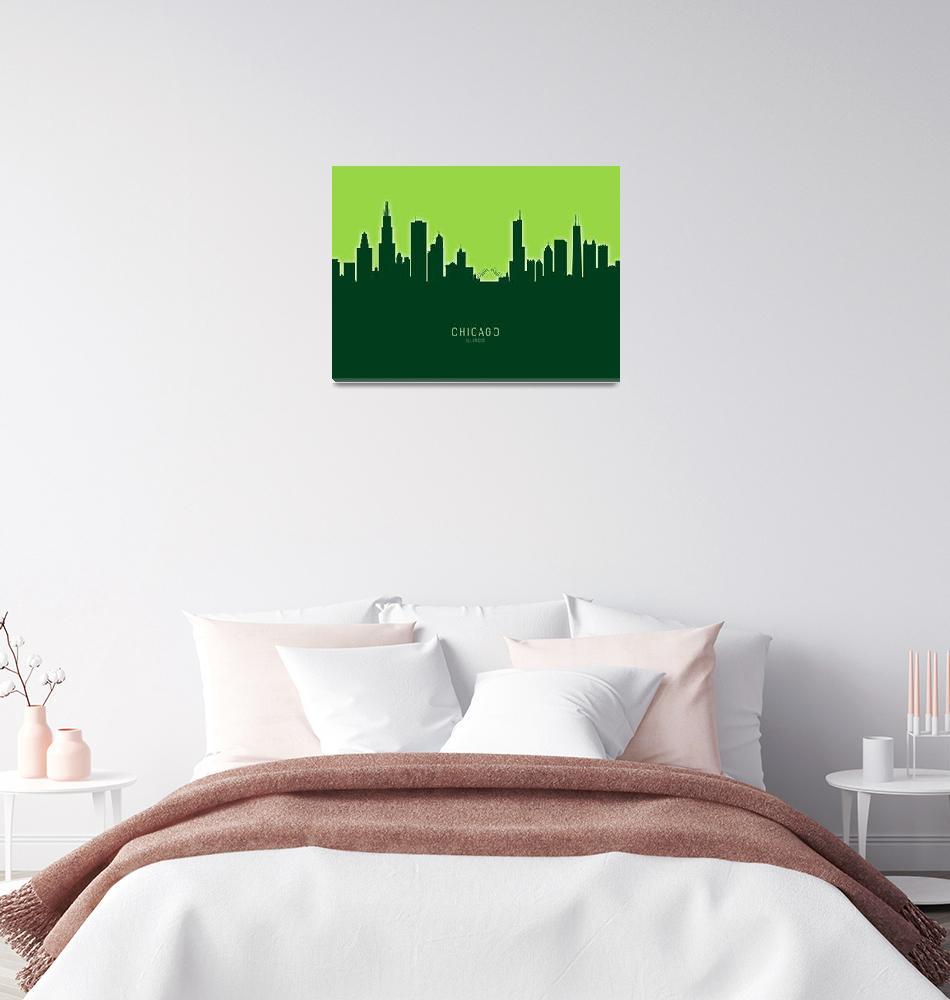 """Chicago Illinois Skyline""  (2020) by ModernArtPrints"