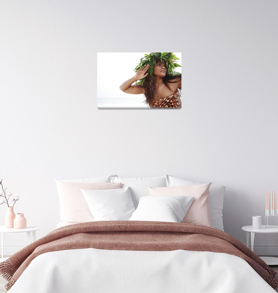 """""""Hawaii, Oahu, Polynesian Female Wearing Wild Fern""""  by DesignPics"""