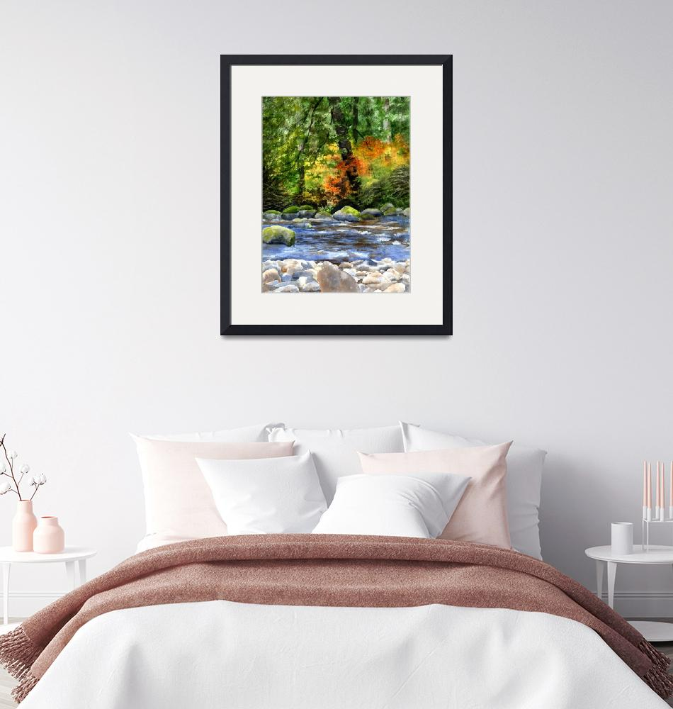 """""""autumn colors in the forest with creek reflections""""  (2016) by Pacific-NW-Watercolors"""