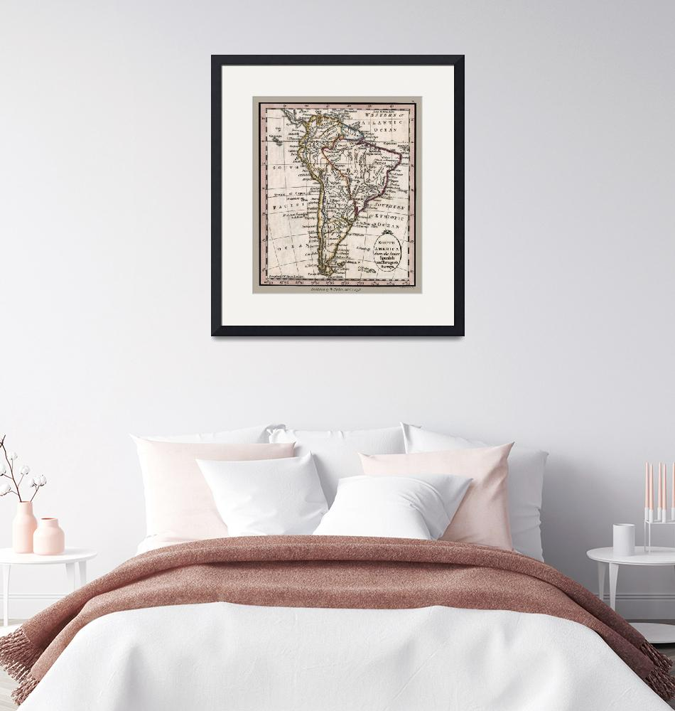 """South America Antique 1798 Map""  (2020) by WilshireImages"