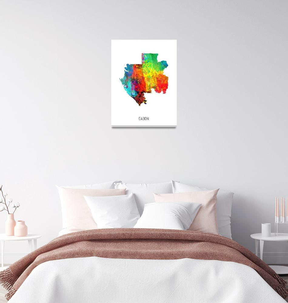 """Gabon Watercolor Map""  (2019) by ModernArtPrints"