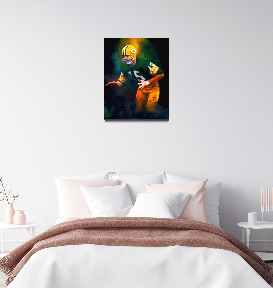 """Bart Starr, NFL Green Bay Packers Painting""  (2012) by artofvela"